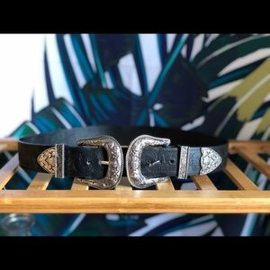 BRAND NEW ASOS Leather Double Buckle Western Belt!